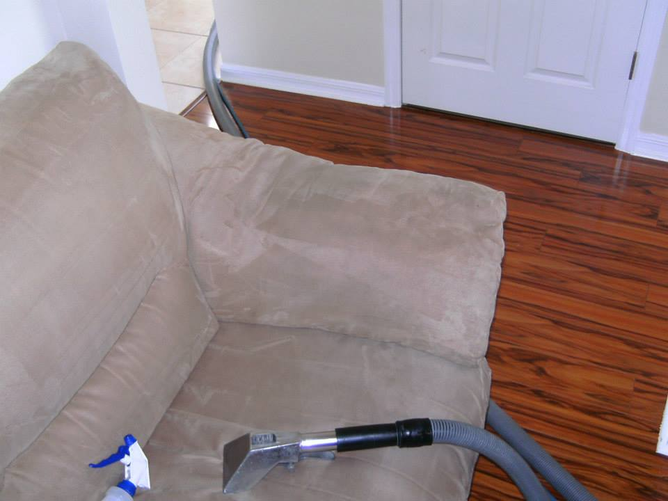 Clean couch with professional cleaning equipment