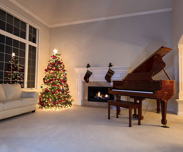 Christmas tree and piano in living room