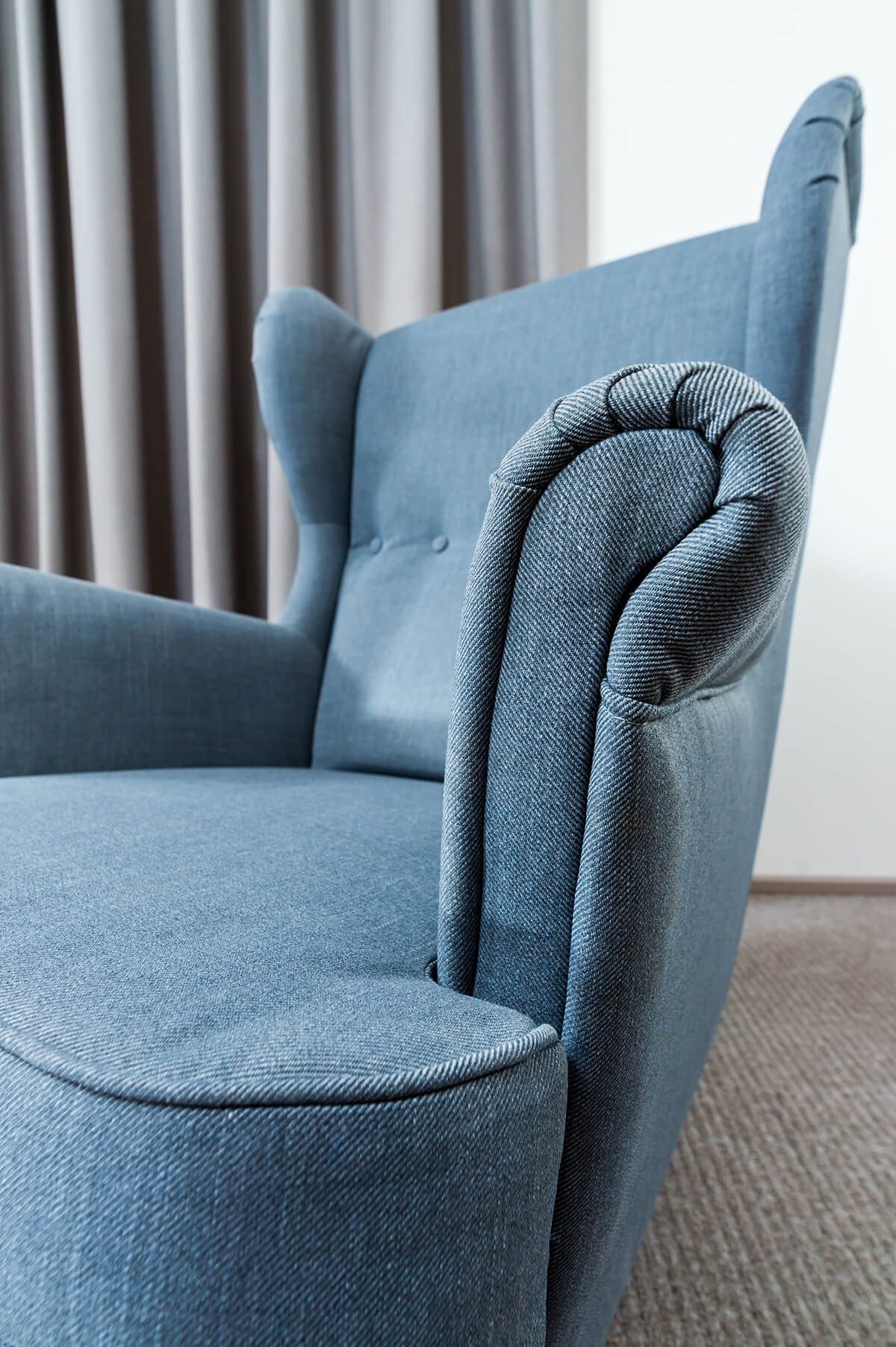 Clean blue sofa seat